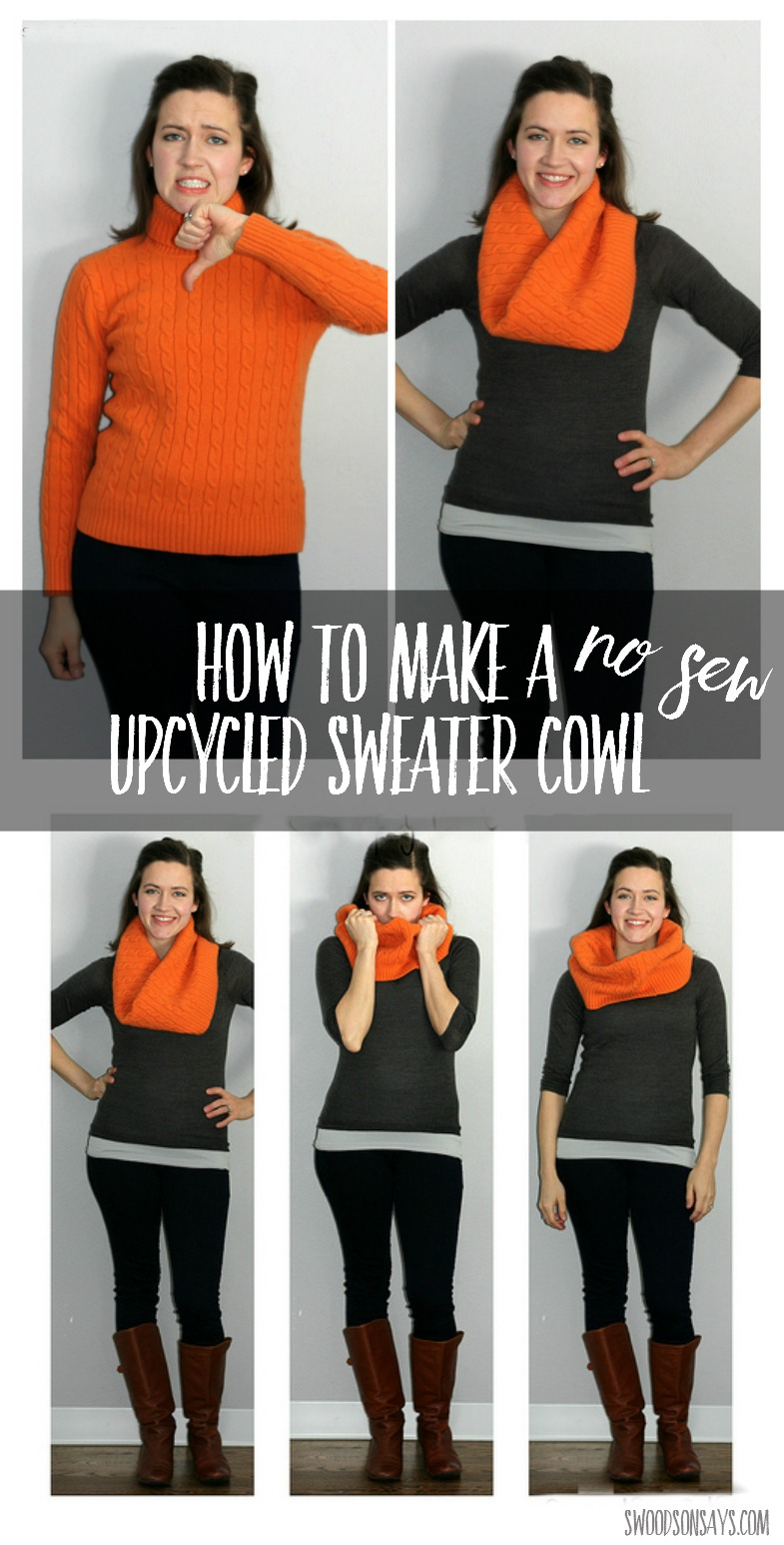 Easy wool sweater upcycle idea! Just cut and wear - no sewing required. Such a fun refashion tutorial, perfect for a craft night or to make with teenagers.What better way to get a cozy cowl for practically free! Click through to see a second example and more tips.