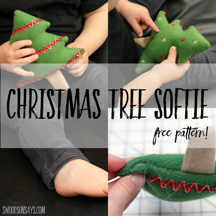 Check out this adorable and free Christmas tree softie sewing pattern! Go crazy with embellishments from ric rac to embroidery, and let your little one play with it, hang it from the tree, or turn it into a cat toy. #christmassewing #freesewingpattern #softiepattern #christmastreesoftie