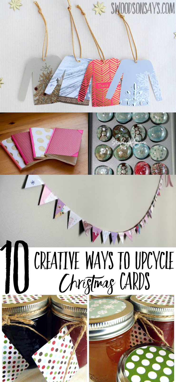 Don't throw away all those beautiful Christmas cards, upcycle them! See 10 creative ways to reuse Christmas cards for crafts. #christmascrafts #christmascards #christmascardupcycle