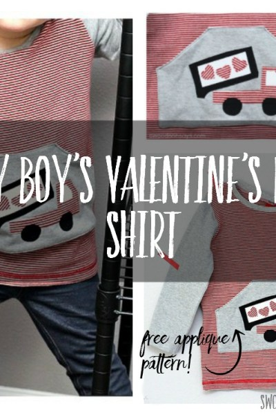 Sew a boys Valentine's Day shirt with this cute heart dumpt truck! It's all upcycled materials and he loves it.
