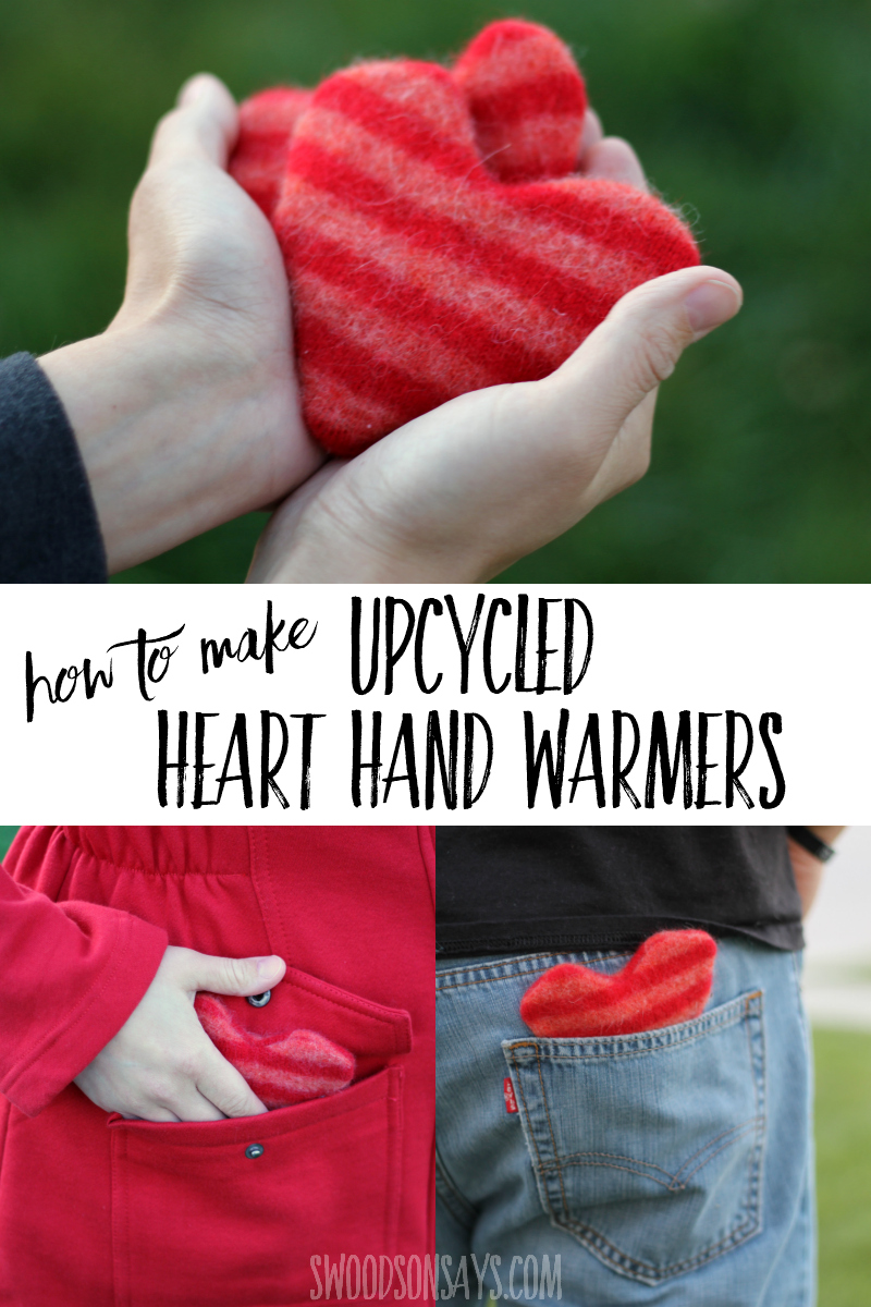 Upcycle a wool sweater into heart shaped hand warmers with this easy sewing tutorial! Download the free hand warmer pattern and sew up some soft hearts to keep in your pockets this winter or to stick in a Christmas stocking. #sewing #upcycle #diygift