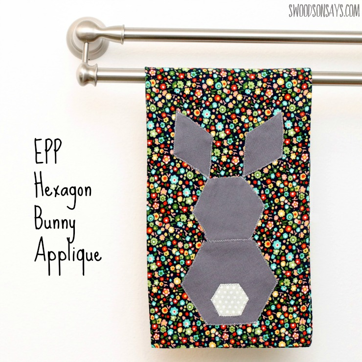 Free pattern for an EPP bunny with hexies!