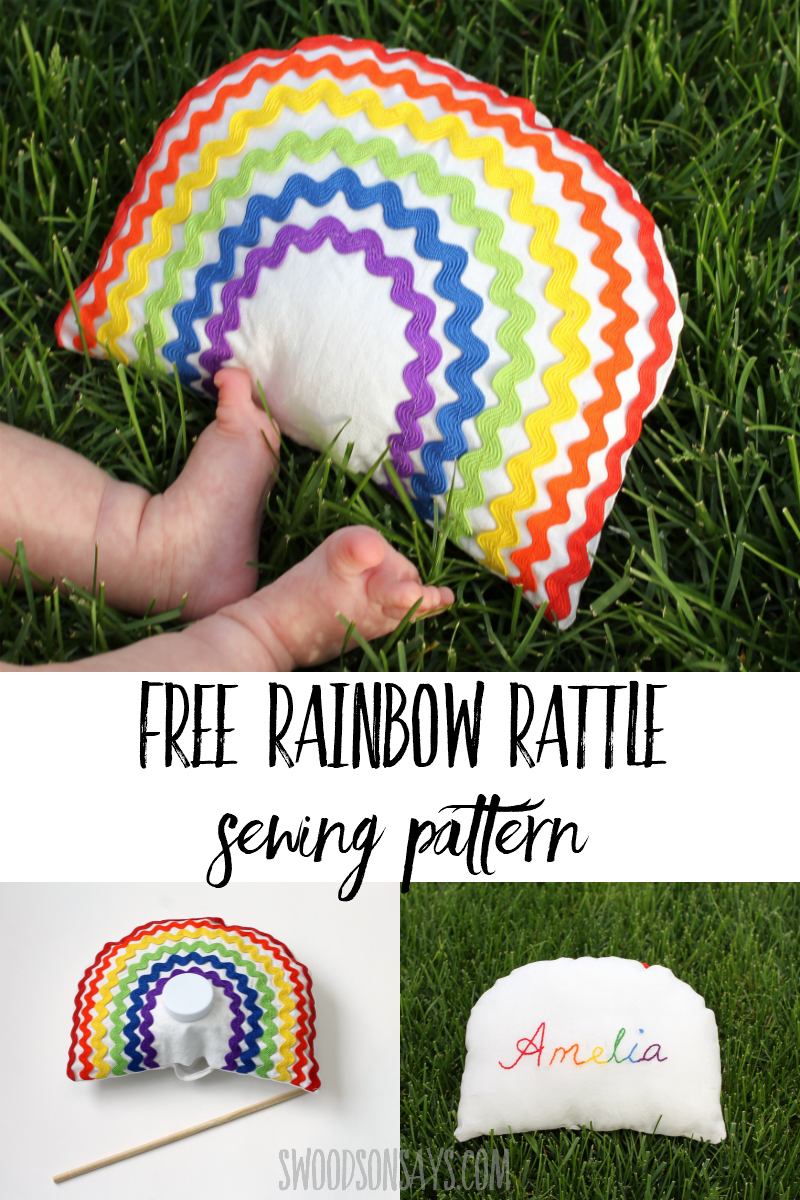 Sew a sweet ric rac rainbow baby rattle with this free baby sewing pattern! Full photo tutorial to make a handmade baby toy, great sewing project for beginners. #sewing