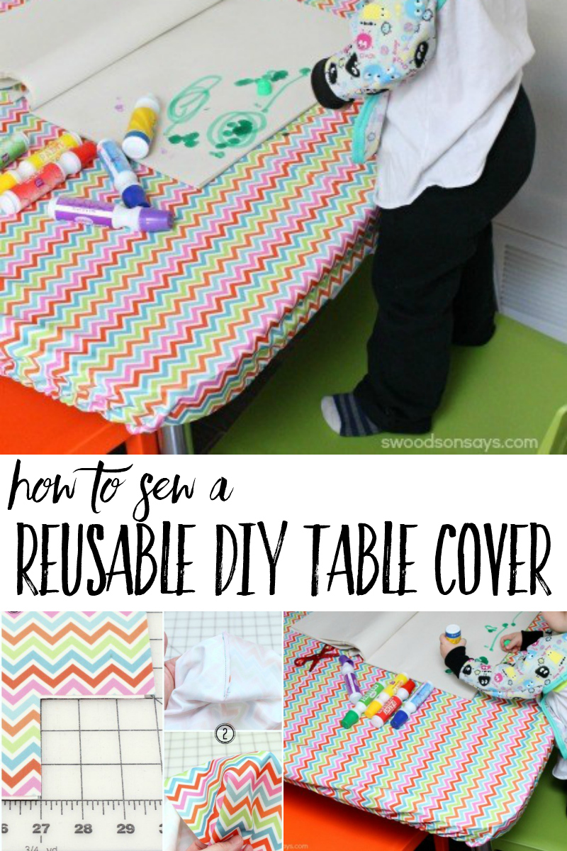 Hate cleaning up after arts and crafts with your kids? Skip that step when you use a reusable diy table cover! This simple PUL sewing tutorial works for any size table, with a photo tutorial. #sewing