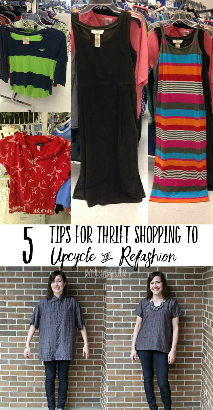 Tips for thrifting! If you want to refashion or upcycle clothes, you'll want to read this. There are photo examples for what to consider while you shop!