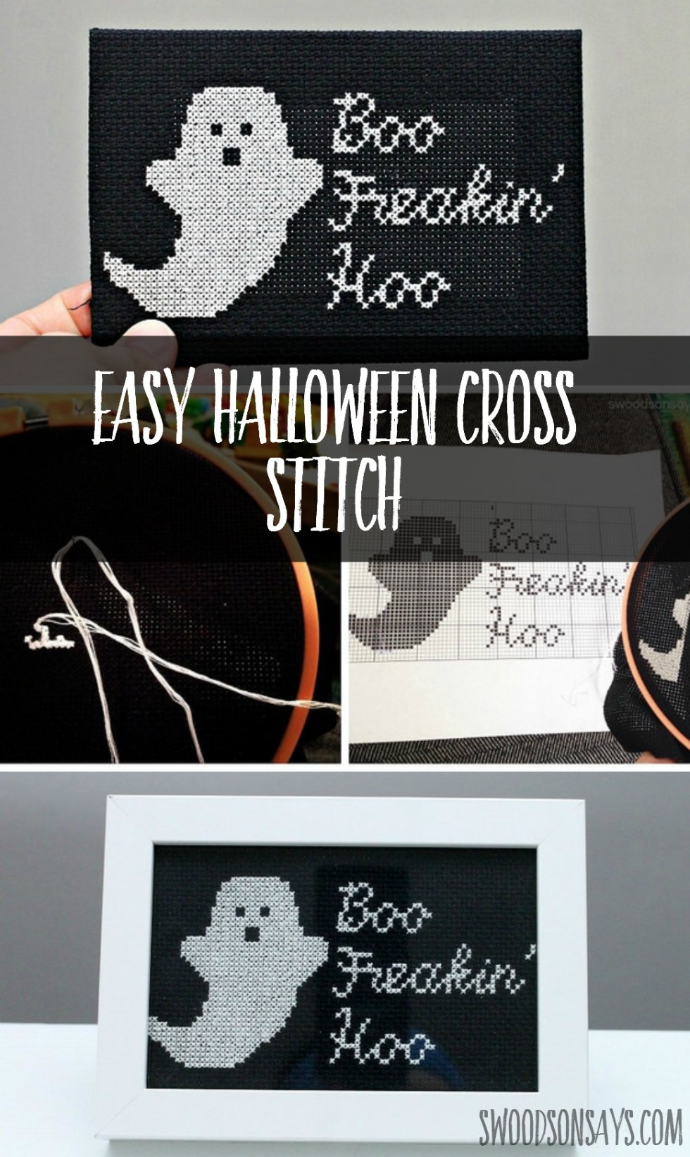 An easy halloween cross stitch pattern stitched up - a silly little snarky ghost! Fun adult craft for Halloween that makes for a cheap DIY Halloween decoration