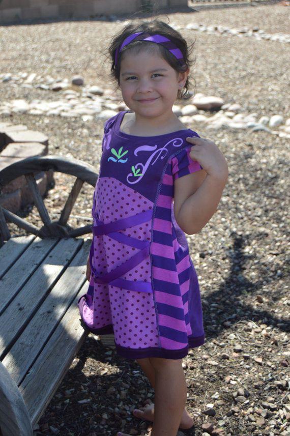 girls dress pattern color blocked