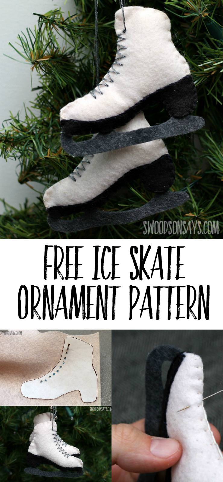Free Felt Ice Skate Ornament Pattern - sew this stuffed ice skate sewing pattern and hang it from your Christmas tree! Make a super cute DIY ice skate Christmas ornament with this easy tutorial and free PDF pattern. #ornament #Christmas #felt #diyornament #christmascrafts