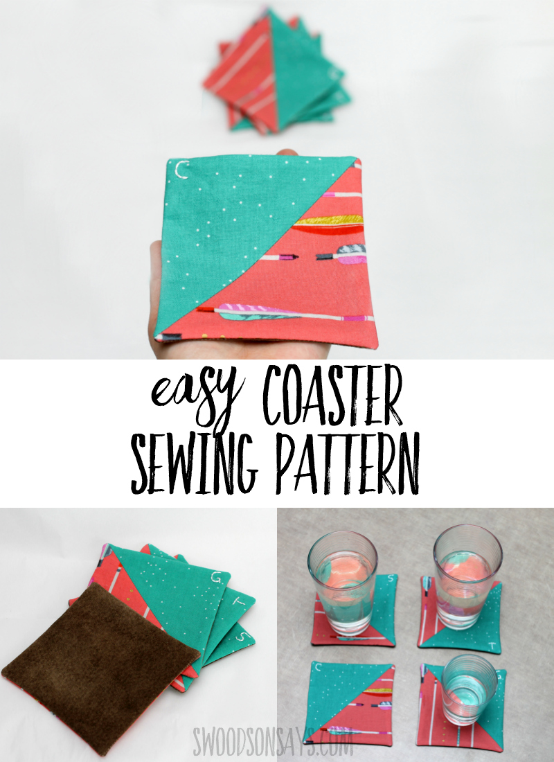 Follow this Easy coaster sewing pattern to make fun, scrappy coasters! Check out the trick for personalizing each one and cutting down on dishes. #sewing #halfsquaretriangle #handembroidery