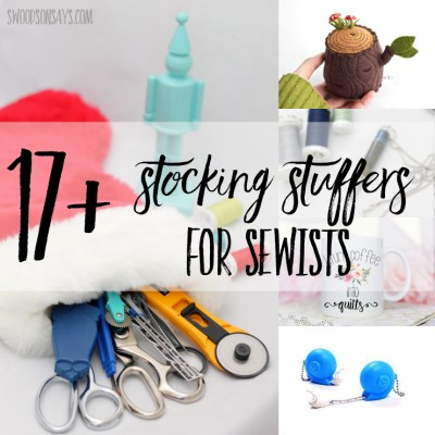 It can be hard to guess someone's fabric taste or pattern wishes, but there are lots of nifty gadges that fit perfectly in a stocking! See this list of sewing stocking stuffers and find something unique for all the sewists in your life. #sewing #stockingstuffer #giftguide