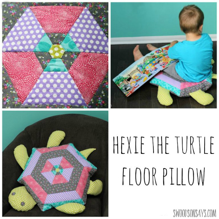 A big turtle floor pillow - made of a quilted hexagon! The perfect snuggle-y softie, on Swoodsonsays.com