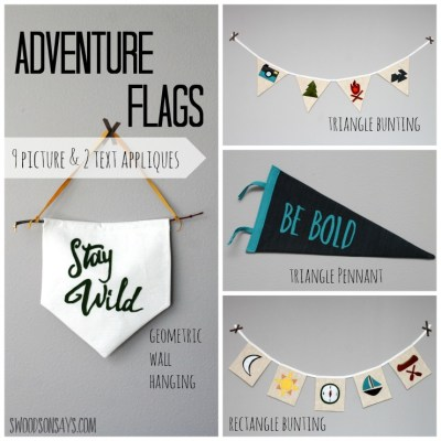 Adventure Flags - a PDF pattern from Swoodson Says. Felt applique shapes and text with a camping theme, perfect for an outdoors nursery or to decorate a playroom!