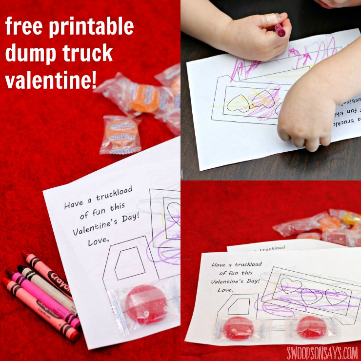 free printable dump truck valentine