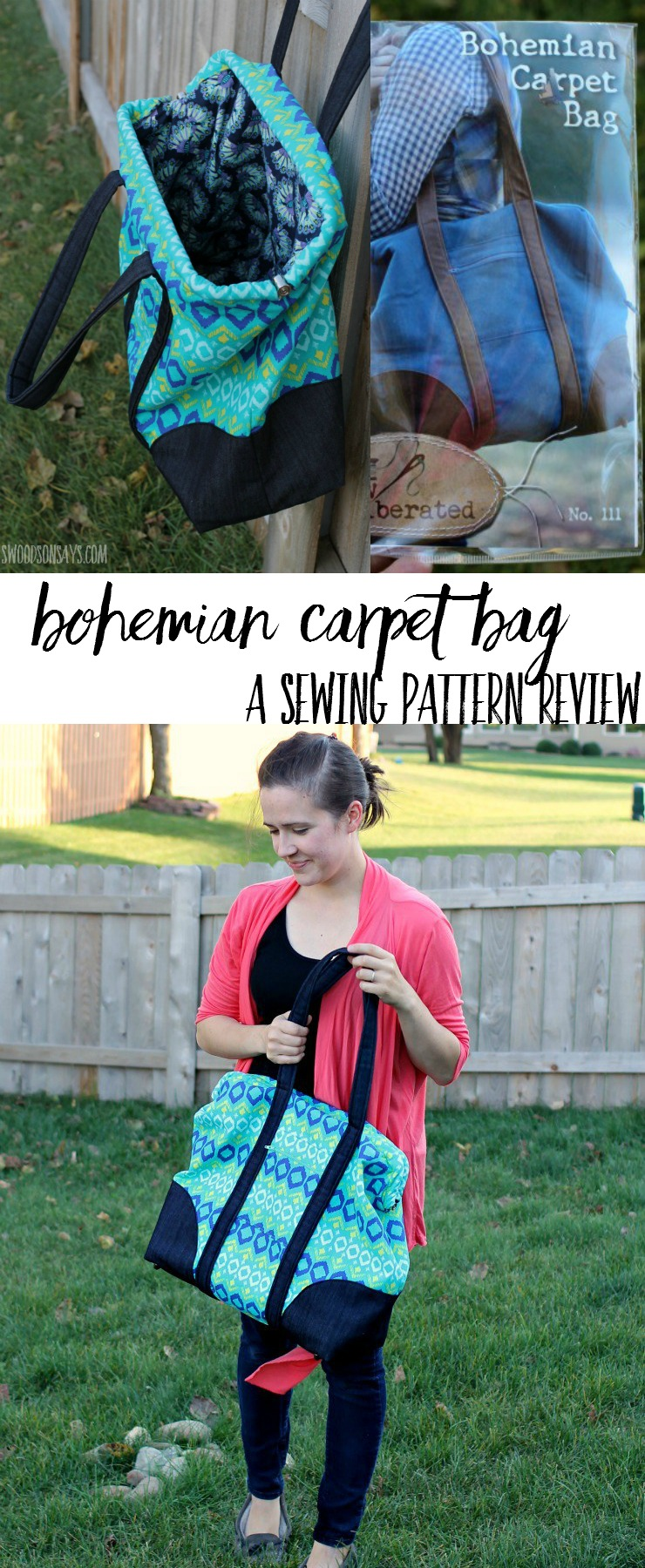 """This is the biggest purse pattern ever! Check out the review for the Sew Liberated Bohemian Carpet Bag - a sewing pattern for a """"mary poppins style"""" purse that is perfect for road trips."""