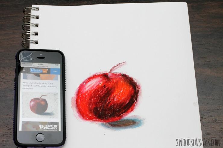 oil pastel apple