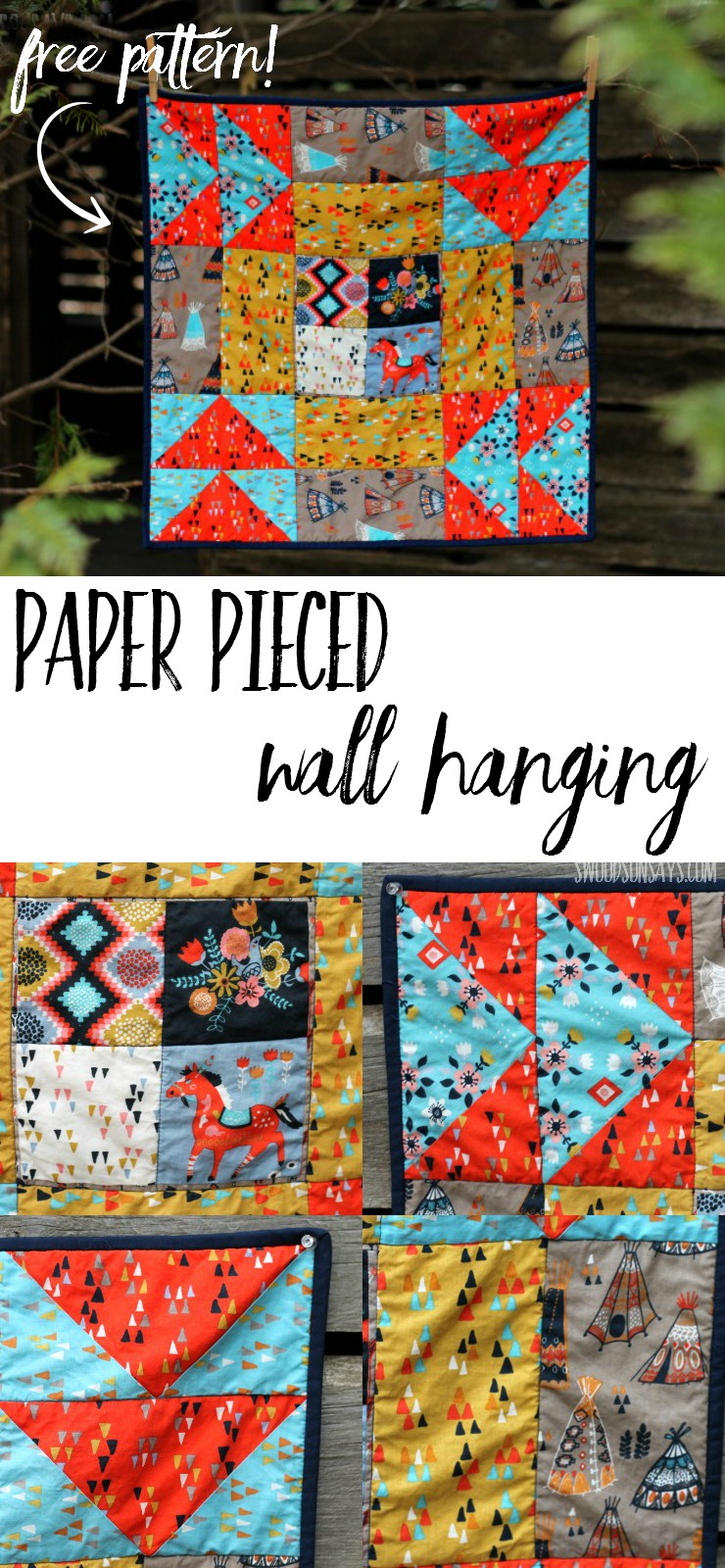 A paper pieced wall hanging - made from one big quilt block! The free pattern is from Sew What Sherlock and it is a great intro to paper piecing