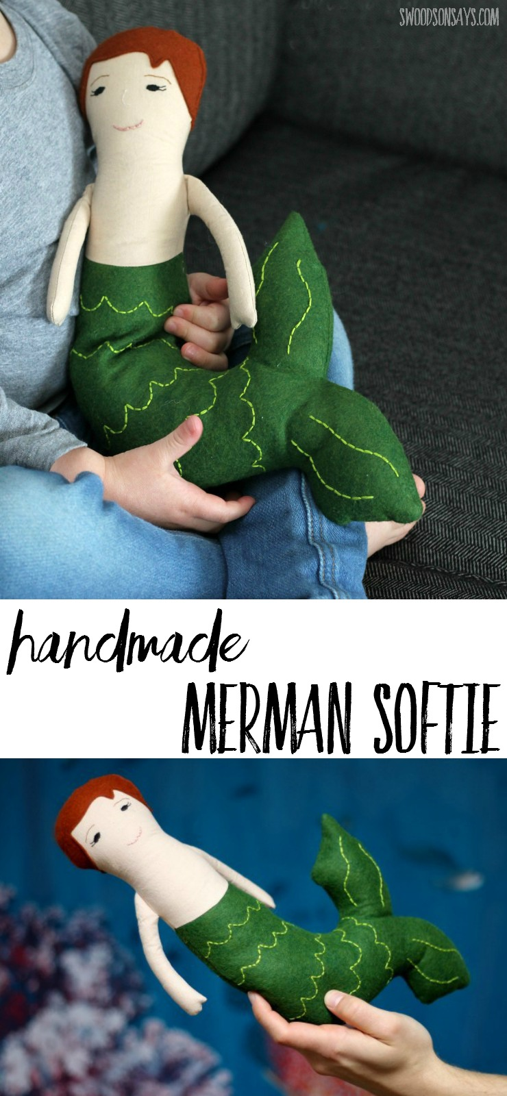 A boy mermaid, better known as a merman, in doll form! I loved sewing this handmade toy for my son - sewing things for boys can be a little trickier but no less fun.