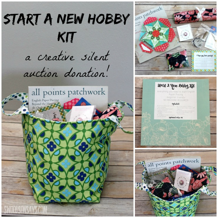 "Looking for a creative gift idea? Maybe something fresh for a silent auction fundraiser? Check out this ""Start a Hobby"" Kit, with everything someone needs to start English Paper Piecing (EPP). EPP is easy to start and requires no machine - perfect for sewing in the car, on the couch, and on the go! See what all is included in the kit."
