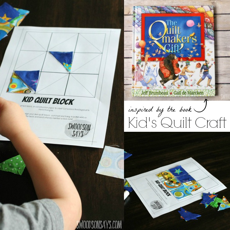 "Make a kid's quilt craft and help your preschooler (or older kid!) practice glueing, pattern making, and creativity! Read ""The Quiltmaker's Gift"" alongside it for a fun morning - the book is all about being selfless, giving, and the magic of sewing!"