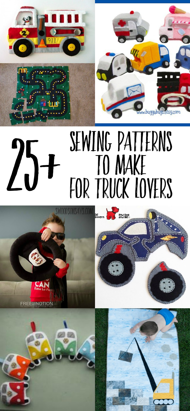 Check out over 25 ideas of what to sew for kids who love trucks! Stuffed trucks, truck quilts, truck shirts, and truck play mats are all included in this roundup of sewing projects for kids. #sewingforkids #trucks
