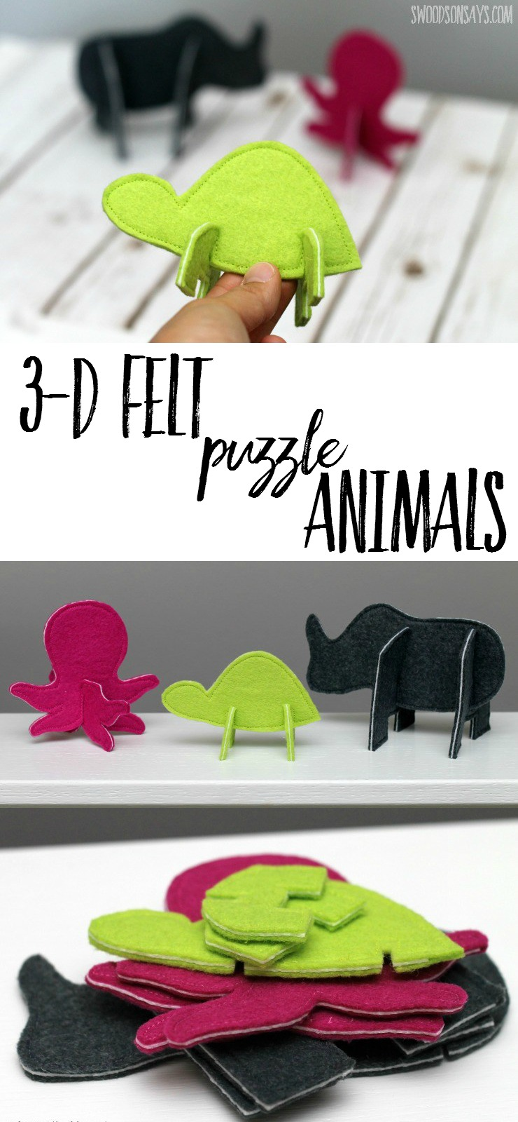 These 3D Puzzle Animals are so much fun to build with - and fast to sew! Perfect felt handmade toy for little hands.