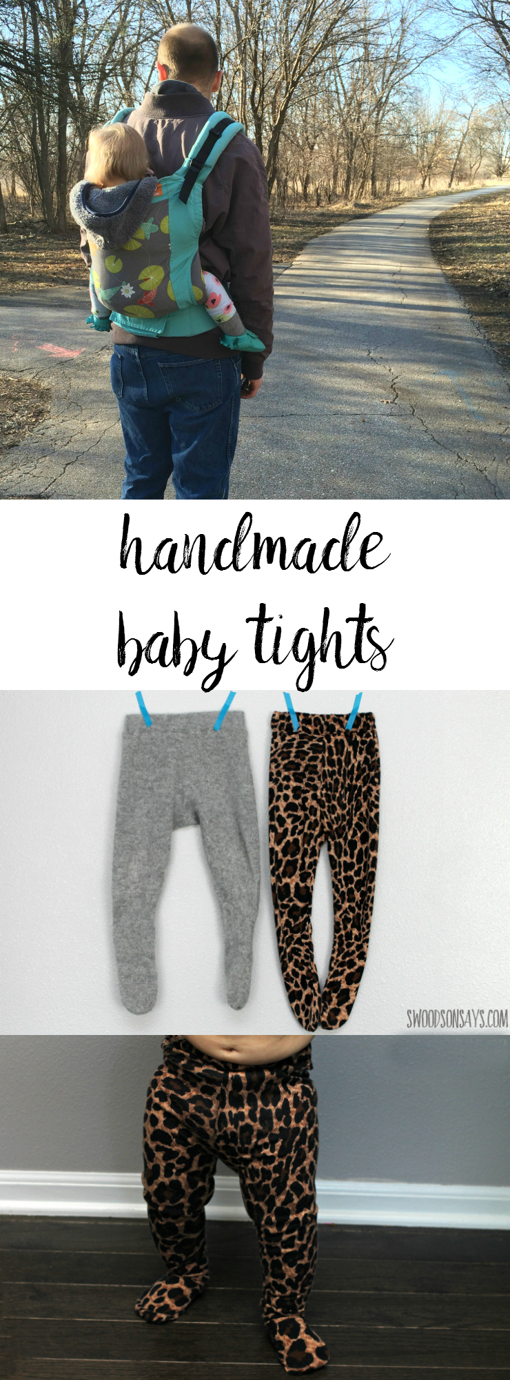 Handmade tights - the perfect thing to sew for a baby! This easy PDF pattern is quick to sew and easy to wear. I made a wool pair that were perfect for babywearing this past winter - and a leopard pair just for fun!