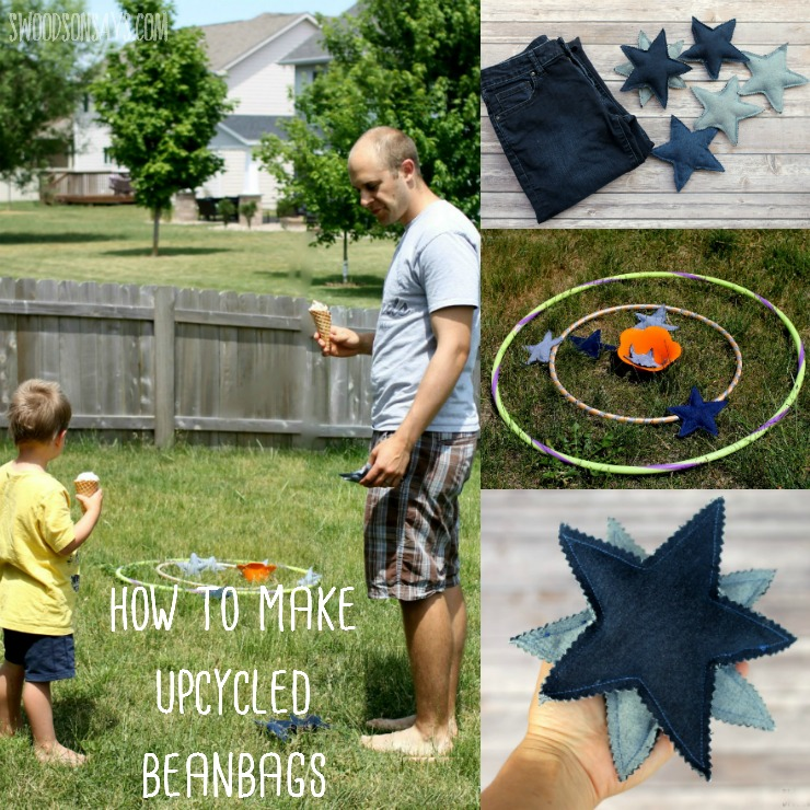Turn those old jeans into fun beanbags - perfect for getting together in the backyard with a sweet ice cream treat! Check out this sponsored post for a free jeans upcycling pattern and tutorial. #ad #cg