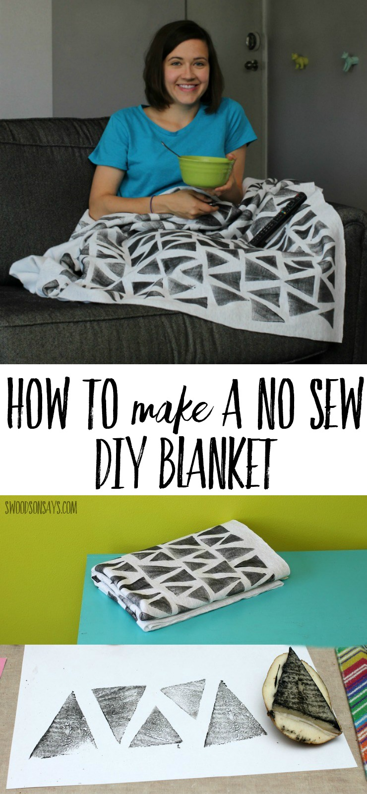 See how easy it is to make a no sew blanket, with this stamped sweatshirt version. A great tween craft idea diy gift for the couch potato in your life, blankets are so much fun to make. #diyblanket