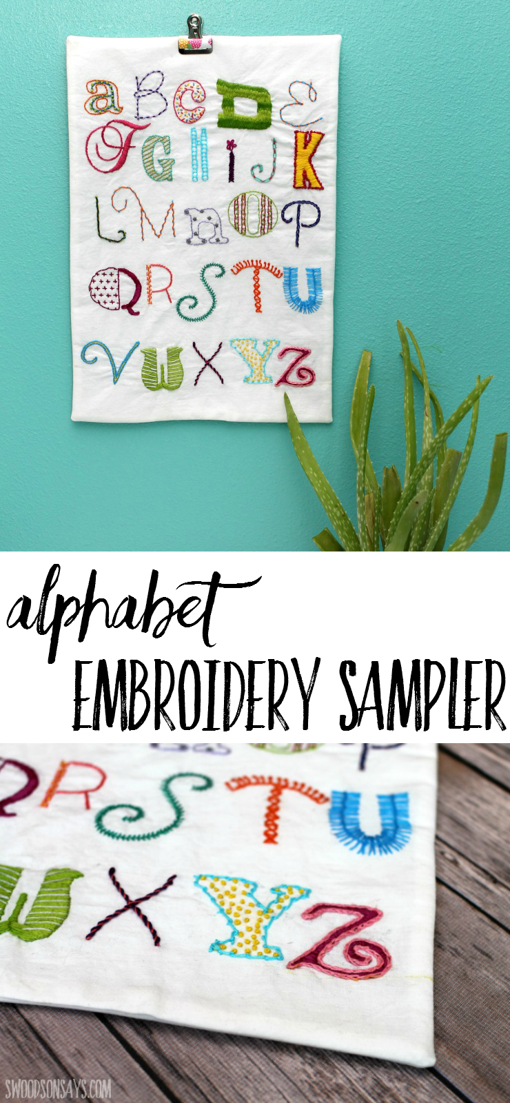 Check out this alphabet ABC embroidery sampler! Learn different stitches while making a beautiful embroidery piece for a nursery or play room.
