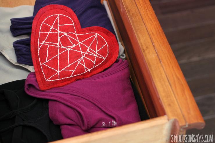 modern heart sachet