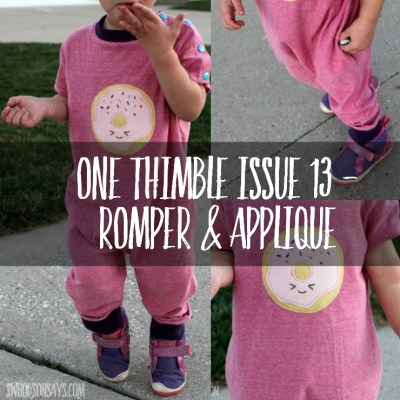Kawaii donut applique on a romper PDF pattern - all from ONe Thimble Issue 13.
