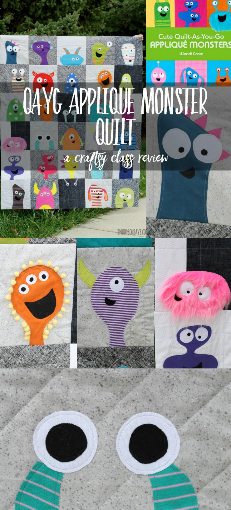Beginner friendly quilt alert! This is a fun and easy Craftsy class that I'm reviewing, to make your own quilt-as-you-go applique monster quilt.