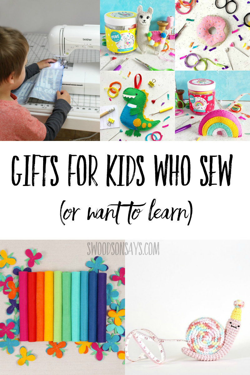 Fun non toy gifts for kids who sew! Machine and hand sewing kits, books, beginner sewing supplies, and more inspiration for sewing kids or kids who want to learn how to sew. #giftguide #sewing #kidscrafts