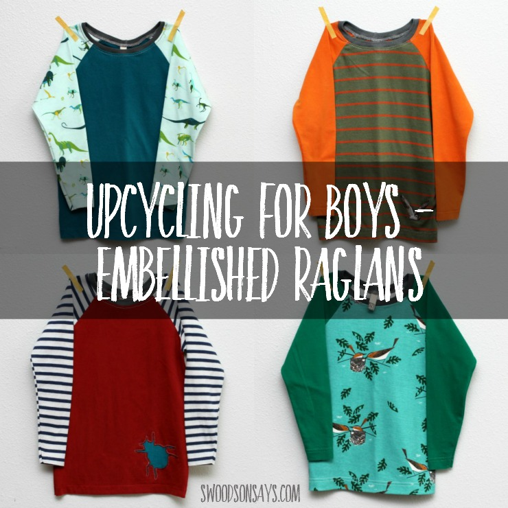 Check out these upcycled shirts for boys! Simple embellishments like patches and reverse applique can jazz up simple shirts.