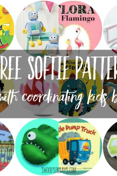 """A list of 10 fresh, free softie sewing patterns paired with coordinating chilren's books! Sew up a fun softie and wrap it up with the matching book for a perfect """"half handmade"""" gift!"""