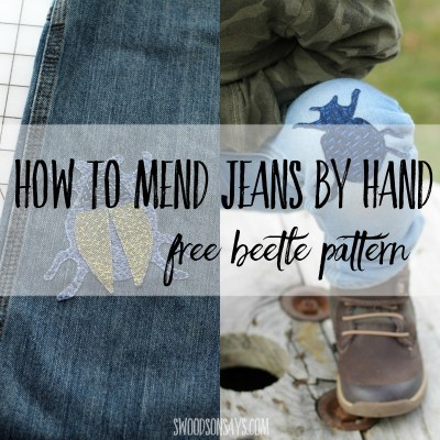 How to mend jeans by hand - diy beetle patch tutorial