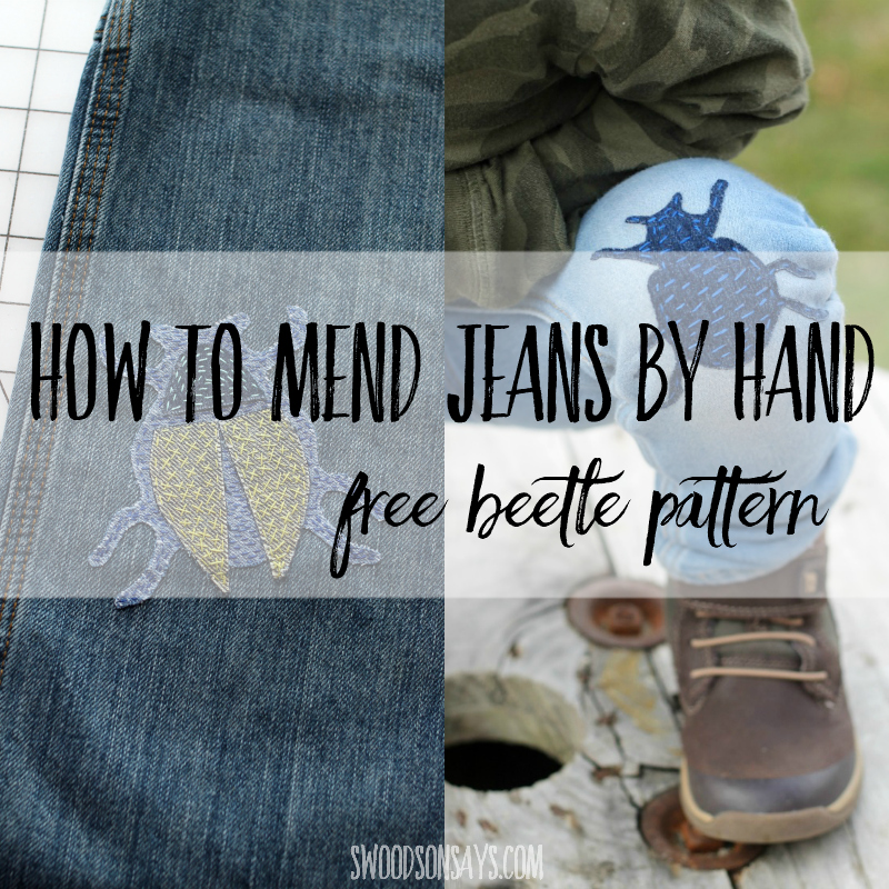 How to mend jeans by hand – diy beetle patch tutorial