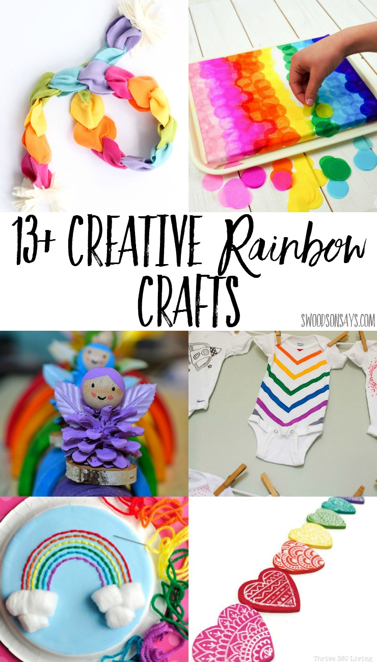 13+ Creative rainbow crafts to make with kids! Rainbow crafts are so fun and perfect for spring; there is something for everyone, with ideas for rainbow process art, rainbow onesies, and rainbow toys.