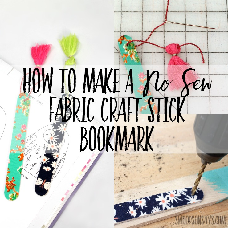 Looking for a five minute, fast and easy fabric craft? No sewing needed - these DIY bookmarks are a great way to use up knit fabric scraps. Look no further for a Mother's Day craft that kids can make, let them pick out the fabric and help glue and then you drill the hole and add the tassel!