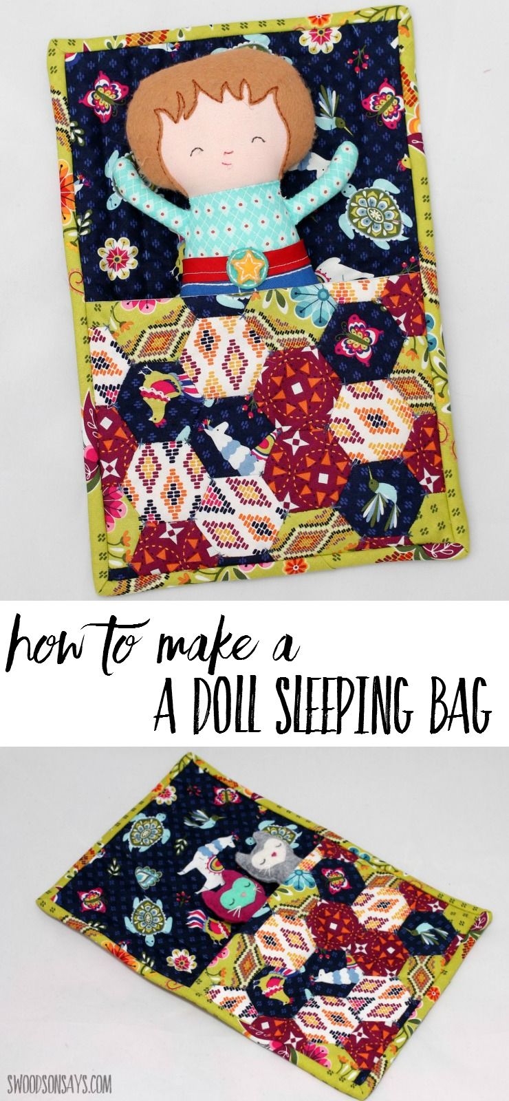 How to make a doll sleeping bag! This is a hand sewing tutorial for a pretty patchwork version. Sew a sleeping bag for your kiddo's softie to snuggle in, as an easy english paper piecing project that doesn't require a ton of hexies.