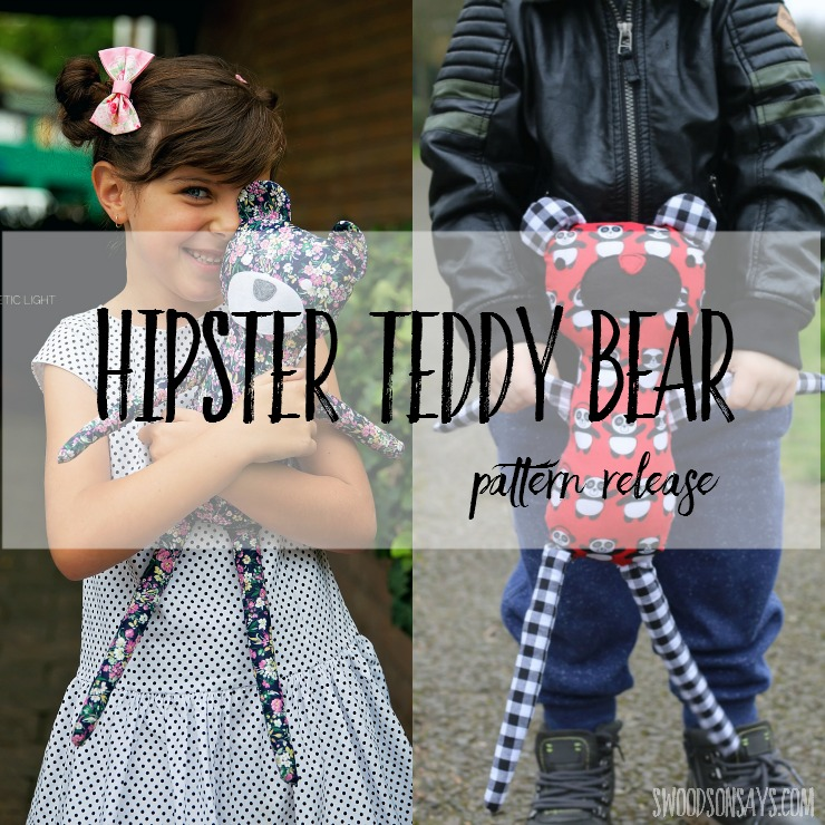 Hipster Teddy Bear - modern teddy bear sewing PDF pattern from Swoodson Says.