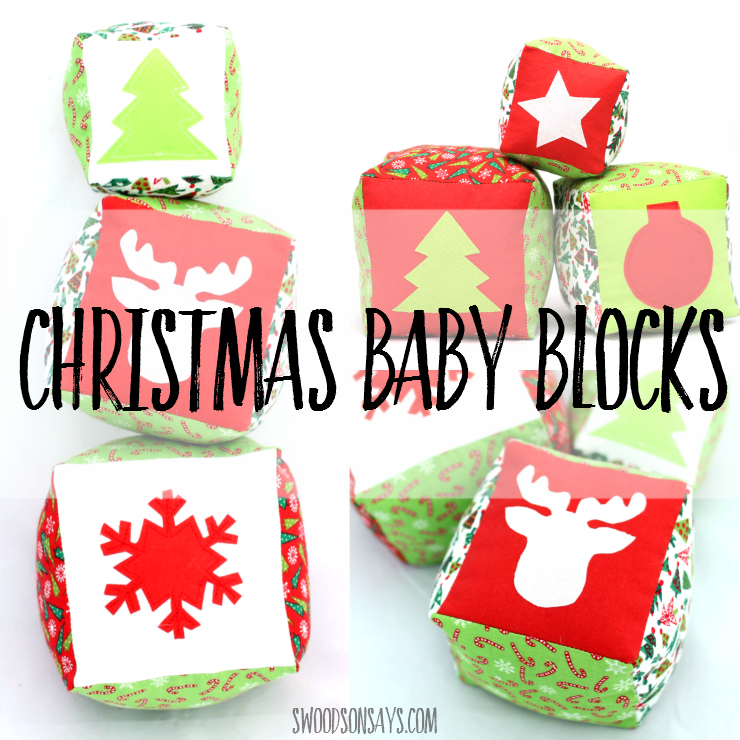Sew up some Christmas Baby Blocks for the little one in your life! This is a sewing pattern perfect for scraps; there are 3 different sized blocks with 7 different designs and photo instructions for how to sew them. fun first Christmas toy to sew!