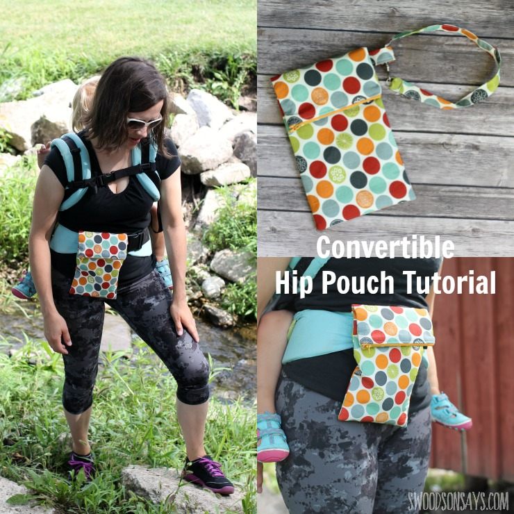 Get outdoors hands free, with this convertible hip pouch sewing tutorial! Slide it onto your baby carrier, your belt, or use the wrist strap and get outdoors with your essentials. The perfect thing to sew for the outdoorsy person in your life.