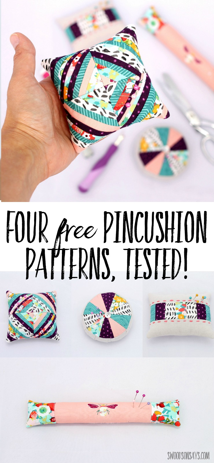 I tested four free pincushion patterns - come see what I thought of each one and get the links! Great scrap buster pincushion tutorials and handmade gift ideas.