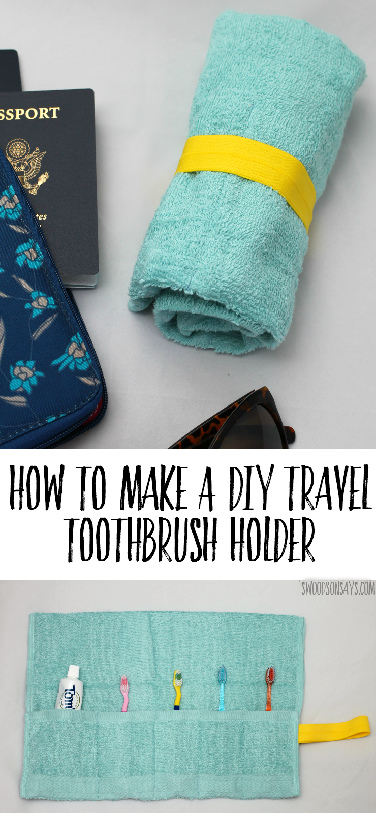 How To Make A DIY Travel Toothbrush Holder - follow this easy beginner sewing tutorial and upcycle a hand towel. This is a great sewing project for travel or cheap handmade gift, it is useful and easy to personalize! #sewing