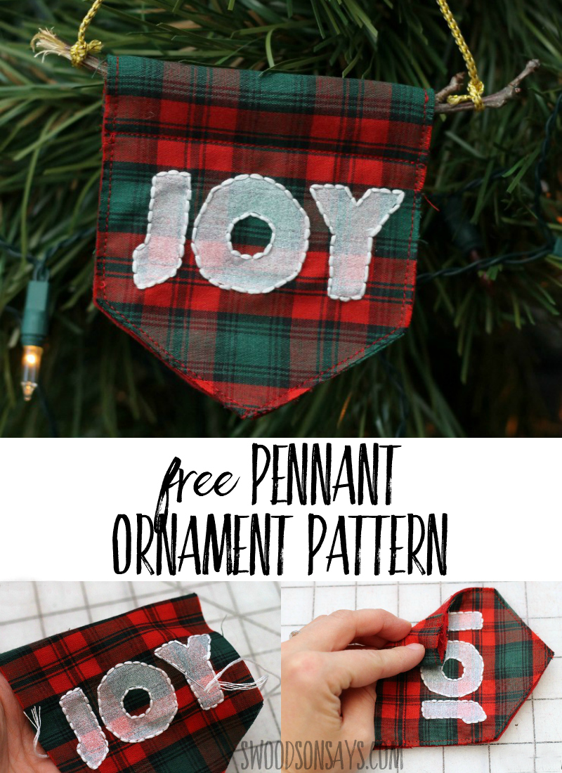 Make a simple DIY Christmas ornament with this free tutorial and pattern! Festive and fun, download the free sewing pattern and get crafty. #christmas #crafts #christmasinjuly #christmascrafts #diyornament