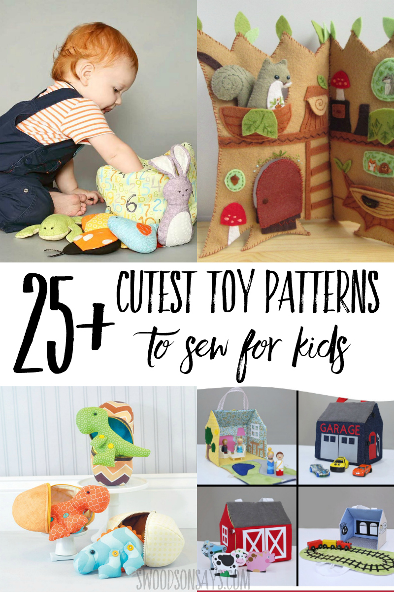 Check out the cutest toy sewing patterns to make for kids! Lots of fine motor skills to practice on these toy patterns that zip, button, hide, and carry. Fun round up of sewing projects for kids and great handmade baby gift ideas! #sewing