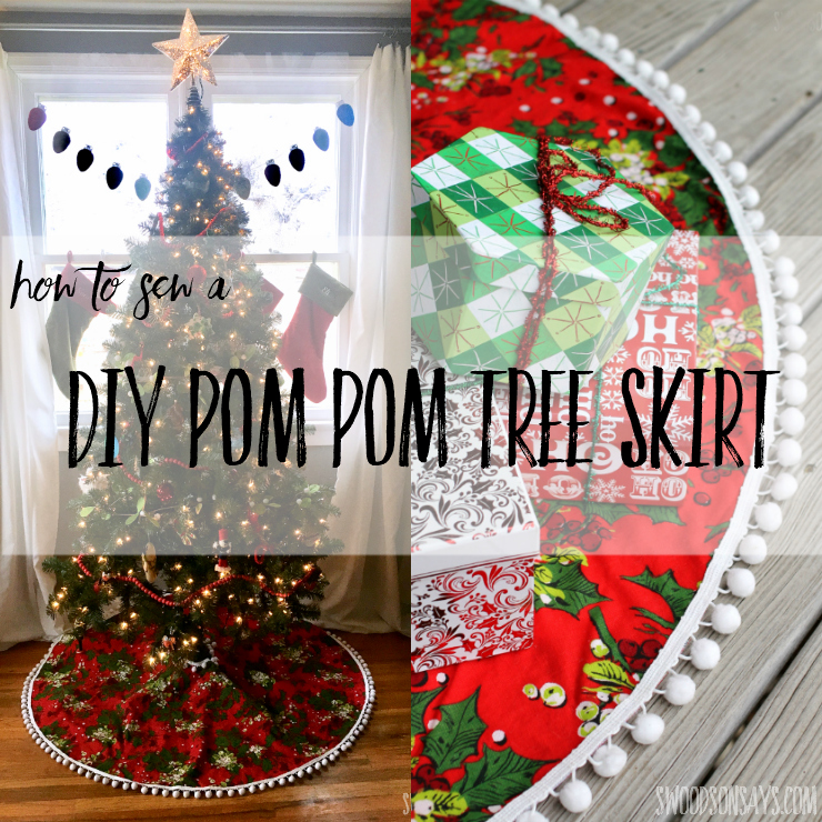 Want to learn how to make a pom pom tree skirt? This simple tutorial for a diy tree skirt will show you how! Don't settle for a cheap felt circle, create something that matches your Christmas decor perfectly. #diytreeskirt #christmassewing #sewing #christmas