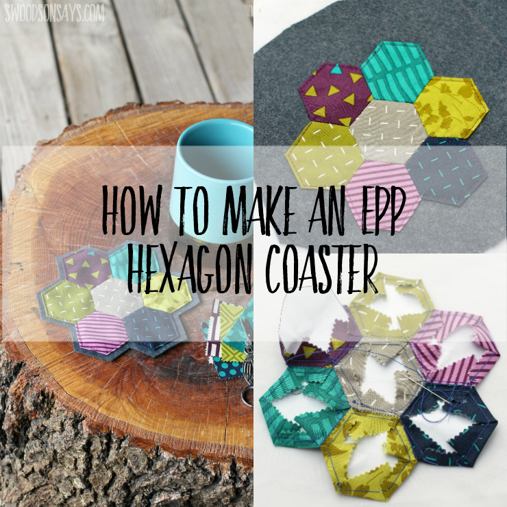 Use up your littlest scraps, sit down and take some quiet time to sew this english paper pieced hexagon coaster! No sewing machine required; it is easy to make in a single night and all hand stitched. Pair it with some tea for the perfect diy get well basket! Sponsored post with free tutorial. #epp #hexies #patchworkcoaster #sewing #sewingtutorial