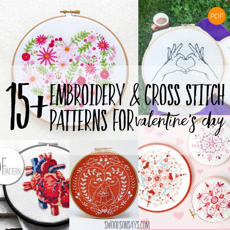 15+ Valentine's Day Embroidery Designs & Cross Stitch Patterns
